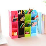 EKRON (Set of 4 Pcs)Plastic 4 Compartment Office Desktop Storage Box, Pen Pencil Stand / Holder Stationary Organiser , Random Color