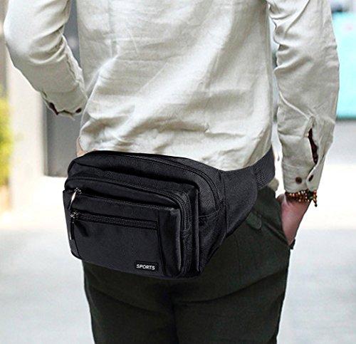 100% nailon Hombre Cintura Pack Multifunción para exterior Viajes Casual Senderismo Daypack con lluvia Cover