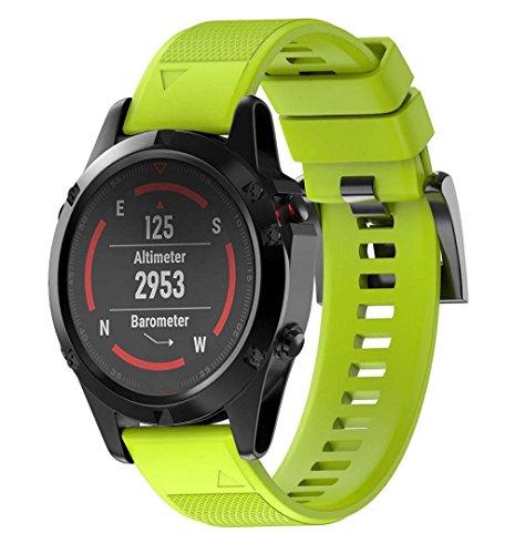 ZEZKT-Uhrenarmband ┇ For Garmin Fenix 5 GPS Watch Soft Quick Release Kit Band Strap Ersatz Silicagel armband Fitness Verstellbares Uhrenarmband Sporty Ersetzerband Silikagel (Grün)