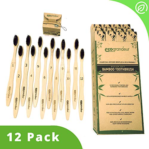 ECOGRANDEUR Organic Bamboo Toothbrushes & Free eBook [12 Pack] with Free Dental Floss, Medium Soft Charcoal Bristles, Eco-Friendly & Natural Wooden Toothbrush, Biodegradable, Plastic-Free Packaging.