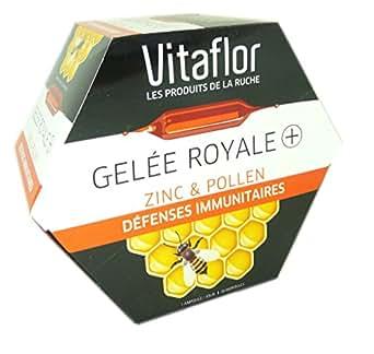 VITAFLOR Gelée Royale Bio + Zinc et Pollen - Défenses immunitaires - 20 ampoules de 15 ml