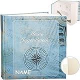 Fotoalbum / Jugendweihealbum / Erinnerungsalbum -  Meine Jugendweihe  -  Traveler blau  - inkl. Name - Gebunden - blanko weiß - 60 Seiten - für bis zu 180..
