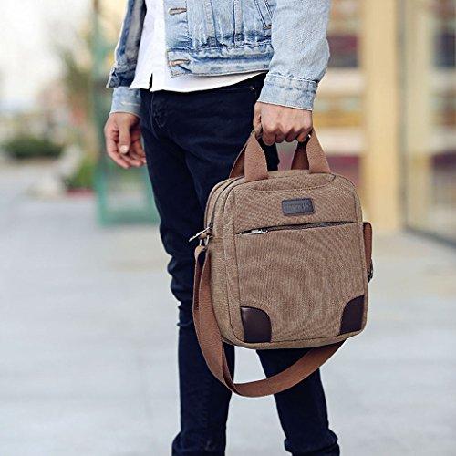 Outreo Vintage Umhängetasche Herren Schultertasche Canvas Messenger Bag Freitag Tasche für Reisetasche Sport Schule Retro Weekender Taschen Herrentaschen Aktentasche sporttasche Segeltuchtaschen Braun