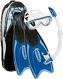 Cressi Palau - Accesorios para buceo (gafas de bucear, snorkel y aletas), color azul, talla M/L