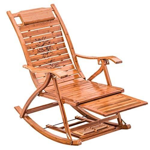 Hfyg Deckchairs Bambus Schaukelstuhl Mit Massage Fußstütze Outdoor Einstellbare Liegen Klapp Mittagspause Stuhl Veranda Rocker für Erwachsene Liegestuhl - Outdoor Klapp-liegen