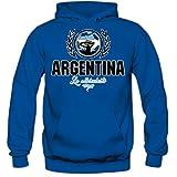 Shirt Happenz Fútbol Argentina V2 Sudadera con Capucha | Hombre | Fútbol | Equipo Nacional | Selección Nacional | Argentina | La Albiceleste | Hoody, Colour:Bleu (Royal Blue);Size:Large