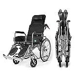 XKRSBS Sillas de Ruedas Silla de Ruedas con Base Completa de Espalda Plegable portátil Anciano discapacitado Scooter