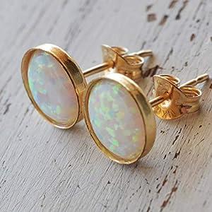 Wei? Opal Ohrstecker 6mm rund Gold gef?llt Ohrstecker Wei? Opal Tiny Studs