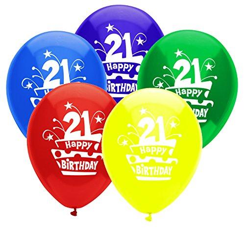 PartyMate 24638 Printed Latex Ballons Gummi 21st Birthday Cake