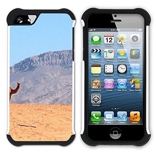 Graphic4You Kamel Tier Wüste Einöde Hart + Weiche Kratzfeste Hülle Case Schale Tasche Schutzhülle für Apple iPhone SE / 5 / 5S Design #16