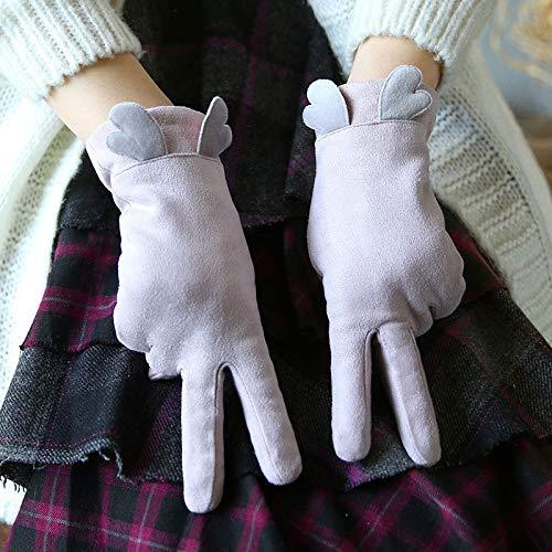 guanti nitrile spessorato Hanggg Guanti invernali più velluto spesso caldo dolce carino studente touch screen punti guida guanti da donna