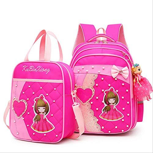 Xjwq zaino scuola borse di scuola nuovi bambini per ragazze zaino bambini prenotare borsa per bambini stampa zaini di stampa set per adolescente ragazze schoolbag abito rosa rosso