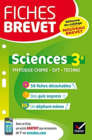 Livre Physique Chimie - Fiches brevet Physique-chimie SVT Technologie 3e: fiches