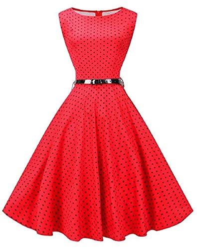 Lange Gold-Rock-Frauen Sleeveless Retro schönes Kleid mit Gürtel-Plus Size Verein-Kleider -