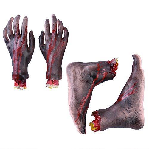 Halloween Deko Abgehackte Körperteile Horror Partydeko Abgetrennte Gliedmaßen Halloween Hand Halloween Fuß Blutige Hand und Fuß 2 PC Händ und 2 PC Füße