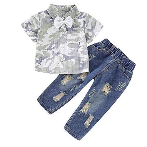 ungen Casual Anzüge Camouflage Fliege Hemd Top + Hosen Outfits 2 Stück Gr. 100 cm, blau ()