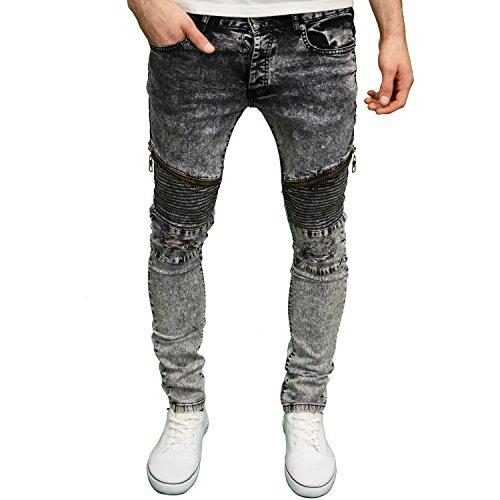 Sette serie da uomo a Stretch Skinny Fit BIKER Rip Pannello dettagli jeans Biker Ripped - Black Acid 38W x 32L