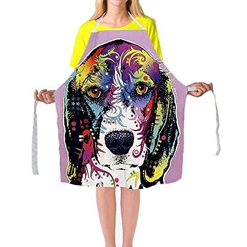 Beagle animaux de peinture d'art tabliers de tabliers de cuisine Cuisine BBQ coloré pour homme femme personnalisé Home Tablier de nettoyage par Cafetime, Polyester, Multi8, 29x34Inch