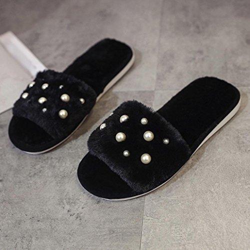 Longra Pantofole pelose a fondo piatto pelose per la pera artificiale artificiale in peluche Nero