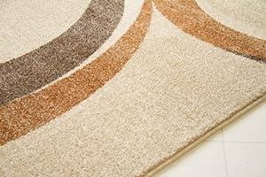 """Modern Rug Beach Circles Cream Brown Retro Designer Carpet GUT Certified, Size 80x150 cm (2'7""""x5'0"""") from Steffensmeier"""