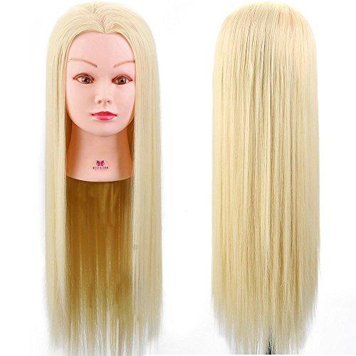 Neverland Beauty Têtes d'exercice Tête À Coiffer Coiffure Cosmétologie Pratique Mannequin Poupée 55cm 100% de Cheveux Synthétiques+ Titulaire
