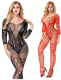 LOVELYBOBO 2 Pack Mujeres Lencería ropa Crotchless Bodystocking interior de camisón de encaje de manga larga Bare inferior (negro+rojo)
