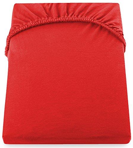 DecoKing 18033 80x200-90x200 cm Spannbettlaken rot 100% Baumwolle Jersey Boxspringbett Spannbetttuch Bettlaken Betttuch Red Amber Collection - 5