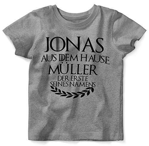 Mikalino Baby/Kinder T-Shirt mit Spruch für Jungen Mädchen Unisex Kurzarm Individueller Name 'aus dem Hause | handbedruckt in Deutschland | Handmade with Love, Farbe:Heather, Grösse:68/74