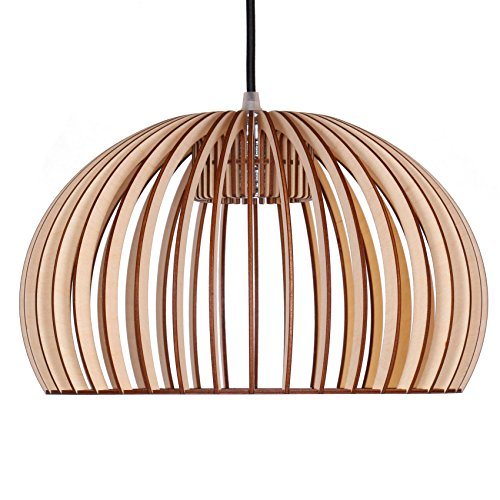 Farbflut Design Suspension Huevo en bois, plafonnier design moderne, 8 couleurs disponibles naturel