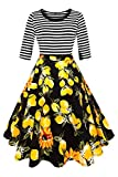 Axoe Damen A-Linie Kleid 60er Jahre Rockabilly mit Blumenrock 3/4 Ärmel Gr.36, M, Farbe G9