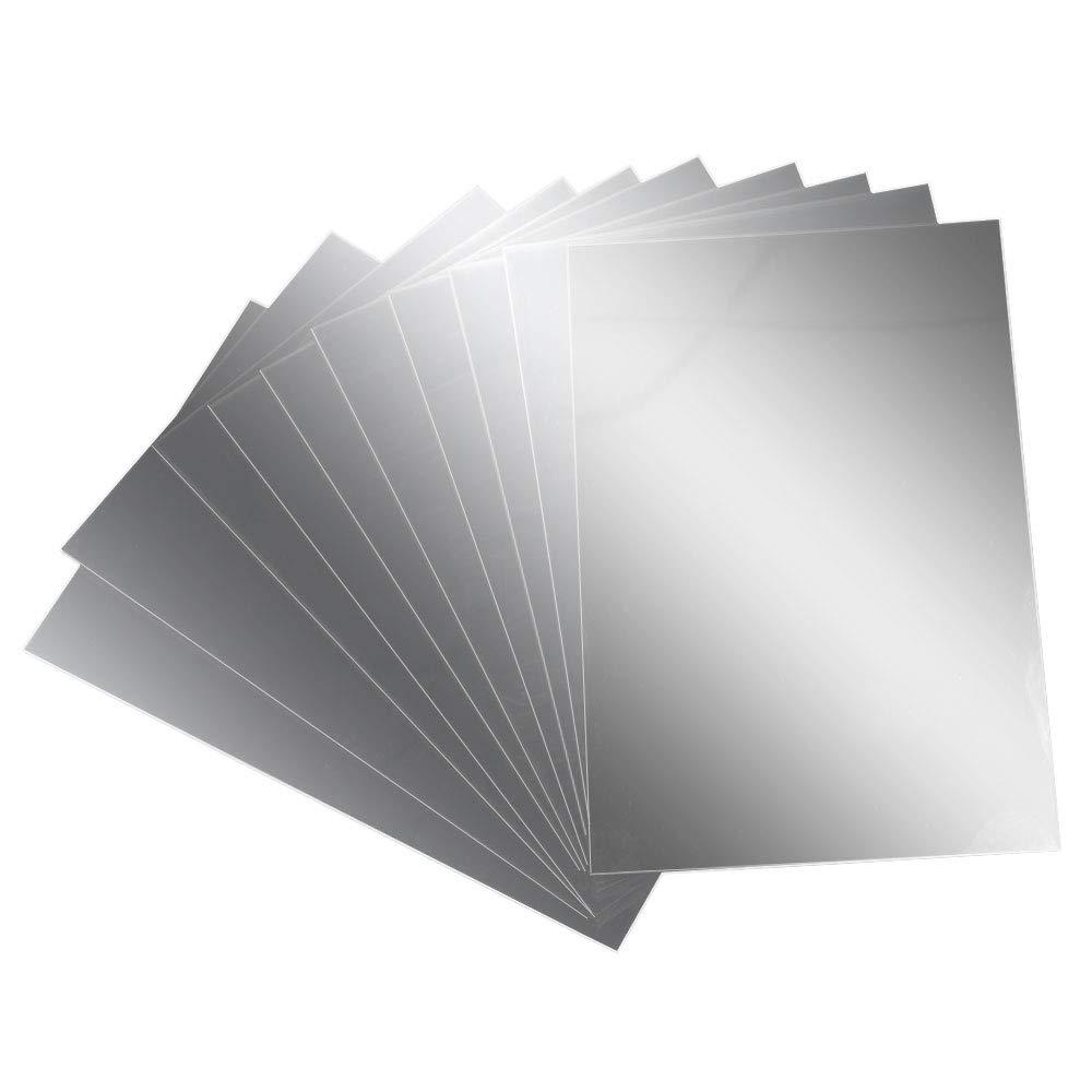 AILANDA Espejos de Pared Autoadhesivo 10 pcs Espejos de plástico láminas Flexibles con Efecto Espejo Anti caída 15…