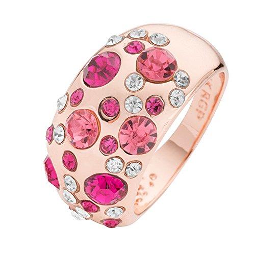 Mianova Damen Designer Ring mit 34 farbigen Kristallen Damenring Breit Rosegold Pink Größe 58 (18.5)