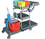 Reinigungswagen Set mit Zwei-Eimer-Wischeinheit, mit Presse, 4-Farbsystem Eimern, Abfalleinheit, Ablagewannen und Besen-Halterungen, Putzwagen Set