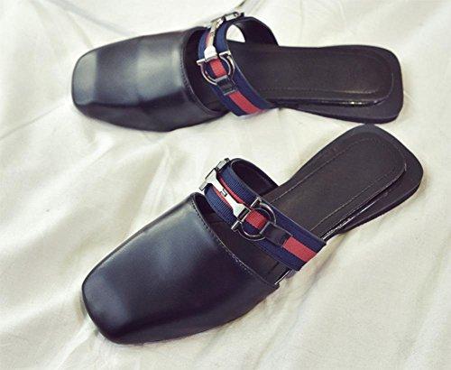 Wohnung mit quadratischem Kopf und einer halben ziehen Frauen flache Sandalen und Pantoffeln rutschfeste Schuhe Zwingen Black