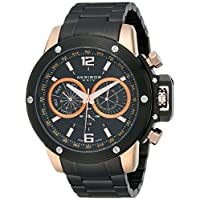Akribos XXIV Men's Black Multifunction Subdial Watch - Rose Gold Accented Case - Engraved Border Dial - Luminous Hands and Markers- Stainless Steel Bracelet Strap- AK604