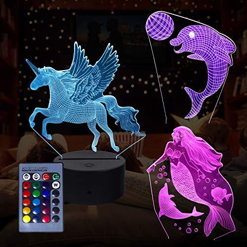 3D Animal Night Light, Lámpara de ilusión 3D 3 Patrón animal y 16 colores Swich con control remoto