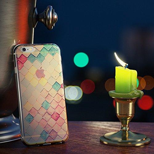iPhone 6 6S Coque Protection de NICA, Fine Silicone Bumper Case Glitter Etui Mince Motif Effet 3D, Housse Souple Transparente Cover pour Telephone Portable Apple iPhone 6S 6, Designs:Chinese Temple Colored Tiles