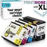 Smart Ink Kompatibel Druckerpatronen Tintenpatronen für HP 932 XL 933 XL 932XL 933XL 4 Multipack Black&C/M/Y Patrone hoher Kapazität für HP Officejet 6600 6100 6700 7110 7510 7610 7612 Drucker