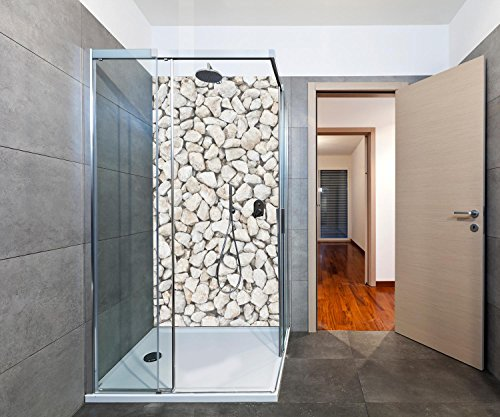 duschwand plexiglas wandmotiv24 Duschrückwand Kieselsteinzusammensetzung Duschwand Design 100 x 200cm (B x H) - Plexiglas 3mm, Fugen