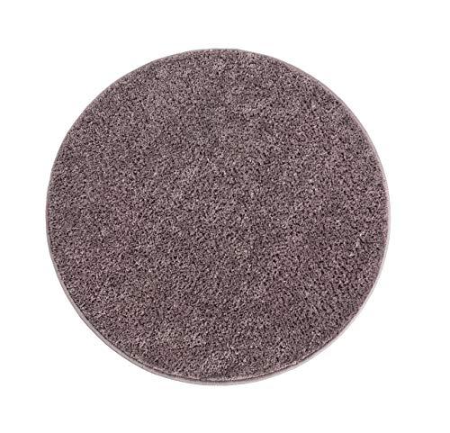 andiamo Microfaser Badteppich Größen-Oeko-Tex 100-Badvorleger rund Badematte, Polyester, grau, 80x80 cm
