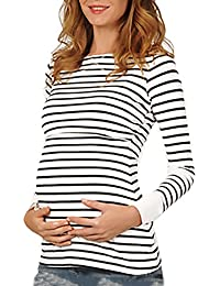 Targogo Camisetas Mamá Mujer Ropa Premamá Lactancia Maternidad De Doble Embarazada Capa Rayas Manga Larga Primavera Otoño