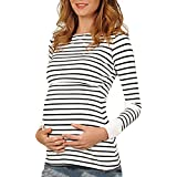Targogo Camisetas Mamá Mujer Ropa Premamá Lactancia Maternidad De Doble Embarazada Capa Rayas Manga Larga Primavera