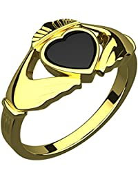 14K Gold Plated Silver Claddagh Ring, Black Enamel Heart