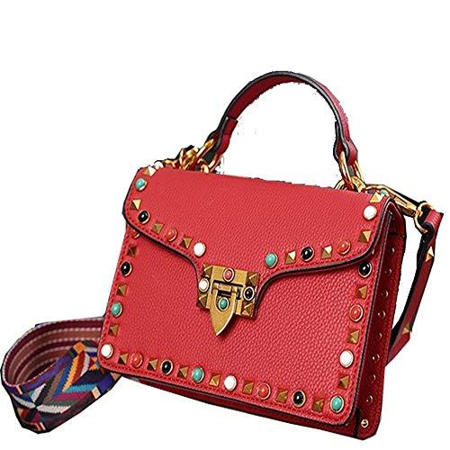 Eastery Bunte Bling Juwel Niet Damen Leder Messenger Bag Weiblichen Handtasche Einfacher Stil Crossbody Frau Umhängetaschen Clutch Bag Rot Hellblau 20 cm 30 cm,