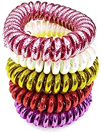 Glitter Spiral Coil Hair Ties Women Ponytail Holder Traceless Rubber Bands. Set Of 5 Pcs