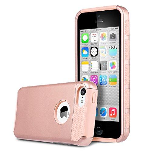 Carcasas 5C, Carcasa iPhone 5C, BENTOBEN 2 in 1 Carcasas iPhone 5C revestimiento pl¨¢stico duro y TPU blando capa doble h¨ªbrida a prueba de golpes Funda para Apple iPhone 5C, Rosa Oro/Oro rosado