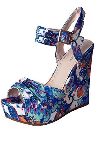 Plateau Keilabsatz Wedge Sandaletten Paisley Muster Blau 39
