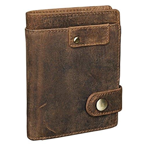 STILORD 'Milo' Brieftasche Herren Leder braun für EC-Karten und Kleingeld Portemonnaie vertikal mit Druckknopf Geldbörse Echtleder mittelbraun