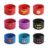 #4: FancyDressWale Superhero Slap Bracelet for Kids Boys & Girls Birthday Party Supplies Favors Mix Super Heroes Pack of 9