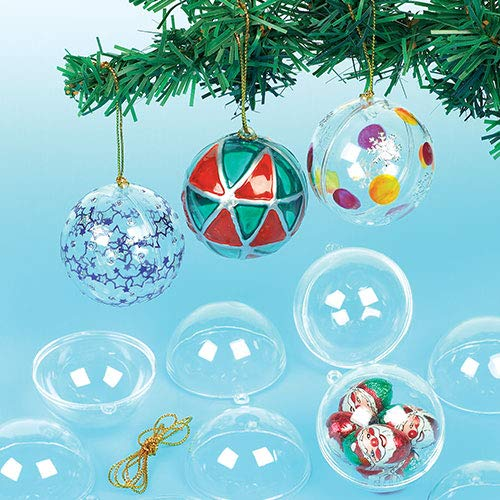 Baker Ross Bolas de Navidad Infantiles Transparentes para Decorar y Colgar en...